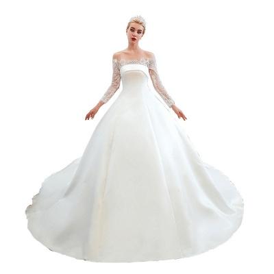 Romántico de encaje de manga larga princesa vestido de novia de satén | Vestidos de novia princesa con tren catedral_24