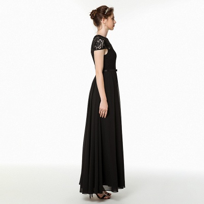 Coccecline | Black Lace Cap Sleeves Lace Bridesmaid Dress with Ribbon_4