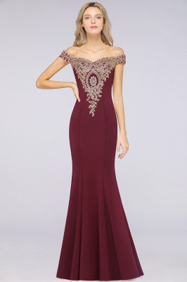 Simple Off-the-shoulder Burgundy Formal Dress with Lace Appliques_34