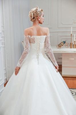 Romantische Spitze Langarm Prinzessin Satin Brautkleid   Prinzessin Brautkleider mit Kathedrale Zug_4