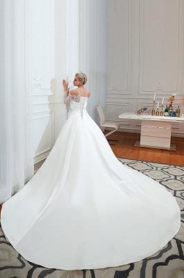Romántico de encaje de manga larga princesa vestido de novia de satén | Vestidos de novia princesa con tren catedral_15