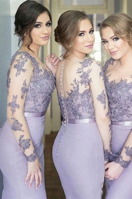 Long-Sleeve Lavender Lace Appliques Buttons Illusion Mermaid Popular Bridesmaid Dress_1