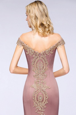Simple Off-the-shoulder Burgundy Formal Dress with Lace Appliques_31