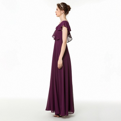 Emmi | Grape Off the shoulder Asymmetric Bridesmaid Dress with Flounce_4
