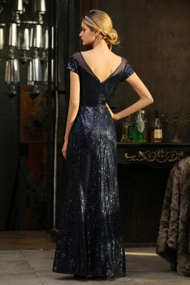Helen| Long Sequined Cap sleeves Scoop neck Formal dress for Prom_16