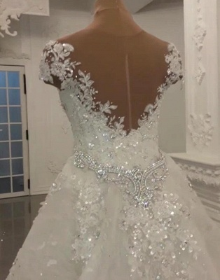 Glamorous Crystal Lace Off The Shoulder V Neck Beading Bride Dresses with Detachable Overskirt | Cheap Sleeveless Open Back Wedding Gowns_2