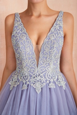 Cerelia | Elegant Princess V-neck Ball gown Lavender Prom Dress with Appliques, Deep V-neck Evening Gowns with Pleats_8