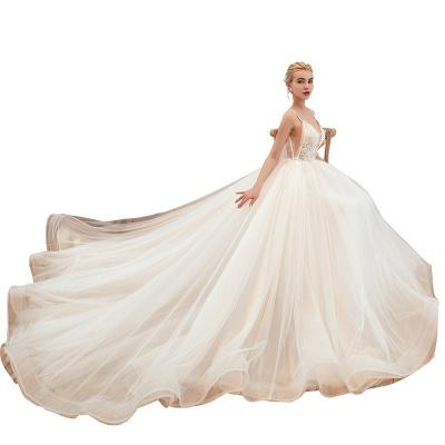 Boho Spaghettiträger Elfenbein Ballkleid Brautkleid | Romantische Brautkleider zum Verkauf_21