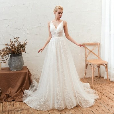 Harlan | Chic Deep V-neck White Tulle Princess Open back Wedding Dress with Court Train_10
