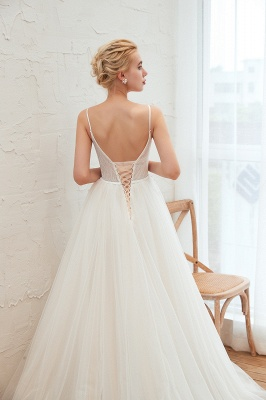 Summer Spaghetti Straps Plunging V-neck Champange Wedding Dress | Sexy Low Back Bridal Gowns Online_18