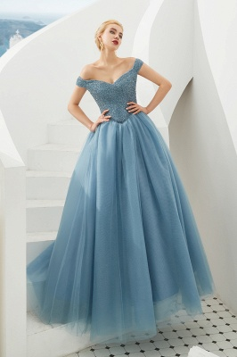 Harry | Elegant Emerald green Off-the-shoulder Ball Gown Dress for Prom/Evening_15