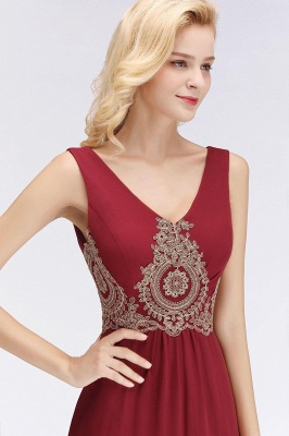 Charming V-Neck Gold Appliques aline Evening Maxi Gown Sleeveless Chiffon Prom Party Dress_4
