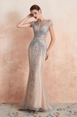 Chloé | Robe de bal en mousseline de soie bleu marine foncé de luxe avec trou clé et manches étincelantes en ligne, belles robes de soirée pour soirée_10