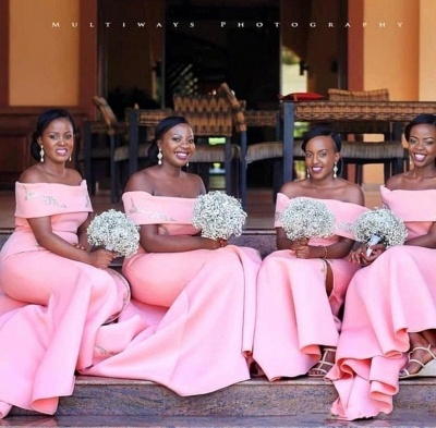 Mermaid Floor Length Off The Shoulder Bridesmaid Dresses With Appliques| Blushing Pink Split Dresses For Maid of Honor_3