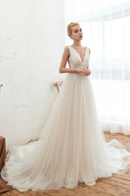Champange Princess Tulle Wedding Dress with Soft Pleats | Sexy V-neck Low Back Bridal Gowns with Lace Appliques_5