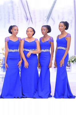 Sweetheart Neckline Cap Sleeves Floor Length Bridesmaid Dress With A Belt Of Leaves Pattern | Royal Blue Wedding Party Prom Dresses_1