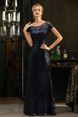 Helen| Long Sequined Cap sleeves Scoop neck Formal dress for Prom_8