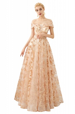 Hale | Romantic Off-the-shoudler Rose Gold Lace-up Tulle Prom Dress with Sparkly Appliques_1