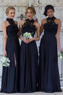 Halter Lace Chiffon Bridesmaid Dress with Split Sleeveless Cheap Sexy Maid of Honor Dresses BA7430_2