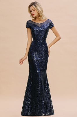 Helen| Long Sequined Cap sleeves Scoop neck Formal dress for Prom_2