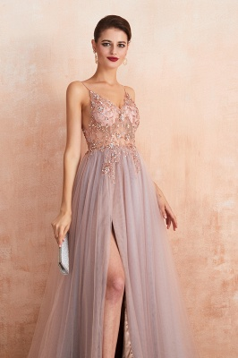 Charlotte | New Arrival Dusty Blue, Pink Spaghetti Strap Prom Dress with Sexy High Split, Cheap Evening Gowns Online_12