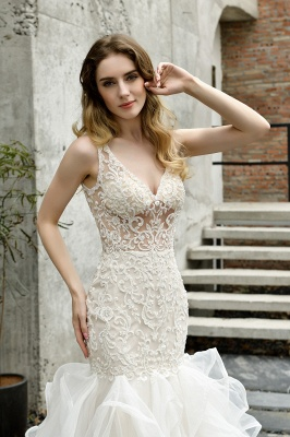 Sexy See-through Lace Mermaid Lace Sleeveless Ivory Wedding Dress with Ruffle Train_4