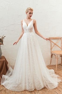 Harlan | Chic Deep V-neck White Tulle Princess Open back Wedding Dress with Court Train_8