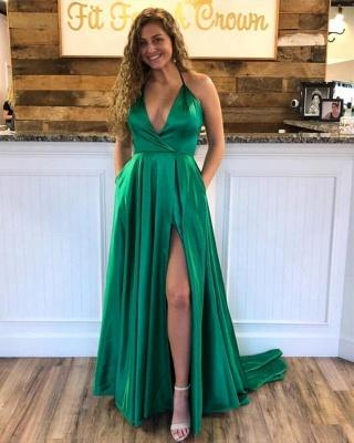 Cheap Spaghetti Strap Shiny Royal Blue Prom Dress with High Split   Sexy V-neck Princess Evening dress online_3