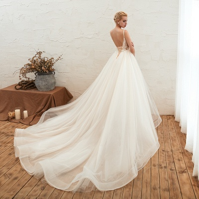 Boho Spaghetti Straps Ivory Ball Gown Wedding Dress | Romantic Bridal Gowns for Sale_12