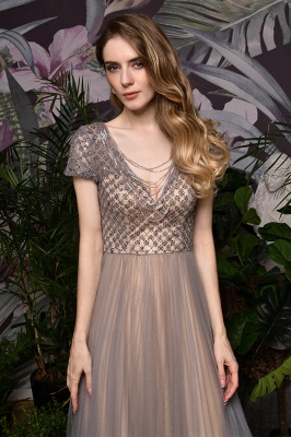 Aria | Stunning Short Sleeves Squared Sequined Tulle Luxury Prom Dress_5