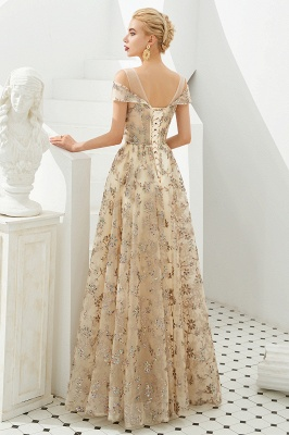 Herbert | Elegant Gold Cold shoulder Prom Dress with Delicate Multi-color Lace Appliques_3