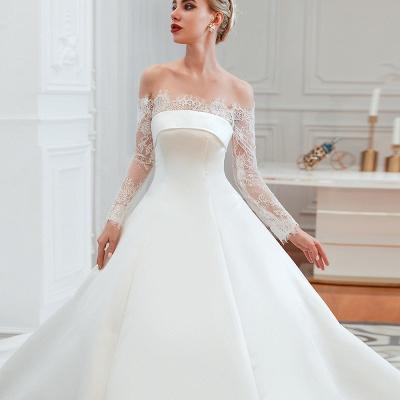 Romántico de encaje de manga larga princesa vestido de novia de satén | Vestidos de novia princesa con tren catedral_17