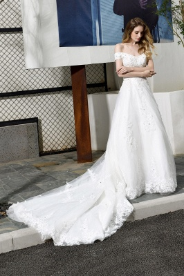Elegant White Lace Off Shoulder Long Princess Wedding Dress with Beaded Lace Appliques_5