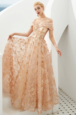 Hale | Romantic Off-the-shoudler Rose Gold Lace-up Tulle Prom Dress with Sparkly Appliques_5