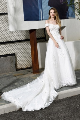 Elegant White Lace Off Shoulder Long Princess Wedding Dress with Beaded Lace Appliques_1