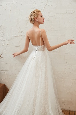 Harlan | Chic Deep V-neck White Tulle Princess Open back Wedding Dress with Court Train_18