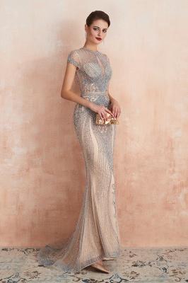 Chloé | Robe de bal en mousseline de soie bleu marine foncé de luxe avec trou clé et manches étincelantes en ligne, belles robes de soirée pour soirée_12