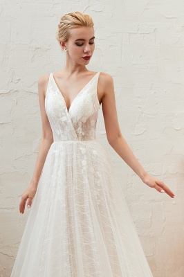 Harlan | Chic Deep V-neck White Tulle Princess Open back Wedding Dress with Court Train_3