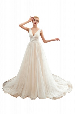 Champange Princess Tulle Wedding Dress with Soft Pleats | Sexy V-neck Low Back Bridal Gowns with Lace Appliques_1