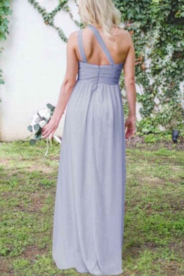 New One-Shoulder Fit Lavender Purple Floor Length Bridesmaid Dresses | Elegant Sleeveless Long Maid Of Honor Dresses_5