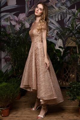 Ardolf | High neck Short Sleeve Champange Sequined High Low Prom Dress_7
