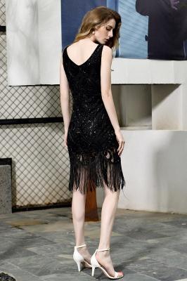 Arda | Vestido de fiesta de cóctel corto con lentejuelas y cuello en V negro_3