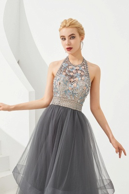 Floral Halter Evening Dress with Sparkle Beads | Trendy Gray Mother of the bride Dress with watermelon and blue decorations_3
