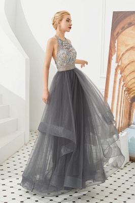 Floral Halter Evening Dress with Sparkle Beads | Trendy Gray Mother of the bride Dress with watermelon and blue decorations_6