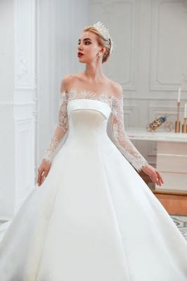 Romántico de encaje de manga larga princesa vestido de novia de satén | Vestidos de novia princesa con tren catedral_21