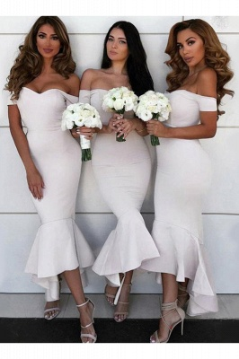 Sexy Open Back Sweetheart Neckline Meimaid Bridesmaid Dresses |Off-shoulder Ankle Length Wedding Party Gowns_3