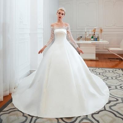 Romántico de encaje de manga larga princesa vestido de novia de satén | Vestidos de novia princesa con tren catedral_11