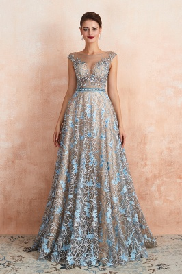 Celandine | Expensive Cap Sleeve See-through Prom Dress with Sky Blue Appliques, Unique Luxury Design Long Evening Dress Online_2