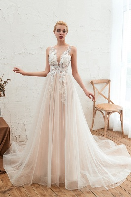 Illsuion neck Champange Wedding Dress with Chapel Train | Sleeveless Summer Bridal Gowns Online_11