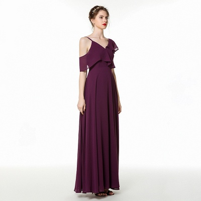 Emmi | Grape Off the shoulder Asymmetric Bridesmaid Dress with Flounce_5